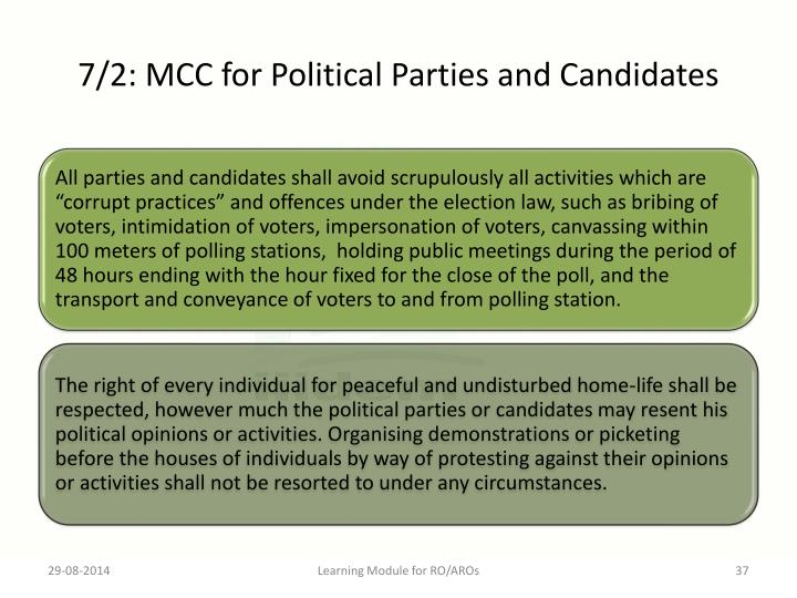 7/2: MCC for Political Parties and Candidates