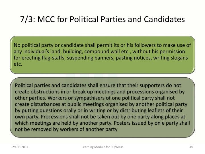 7/3: MCC for Political Parties and Candidates