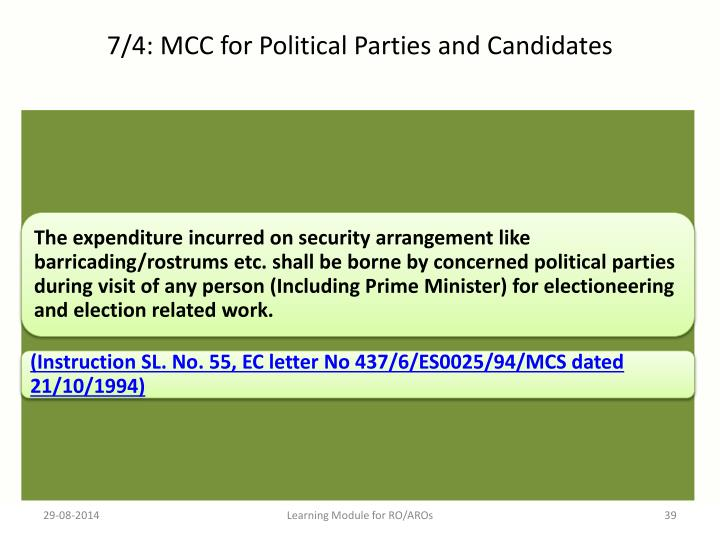 7/4: MCC for Political Parties and Candidates
