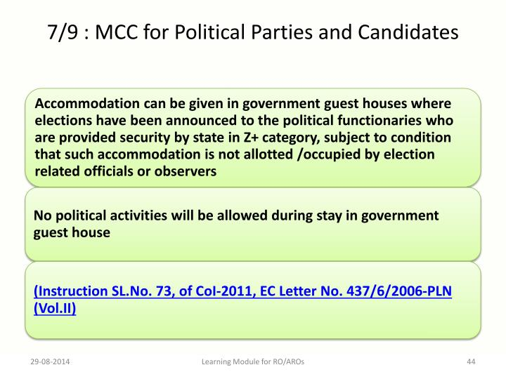 7/9 : MCC for Political Parties and Candidates