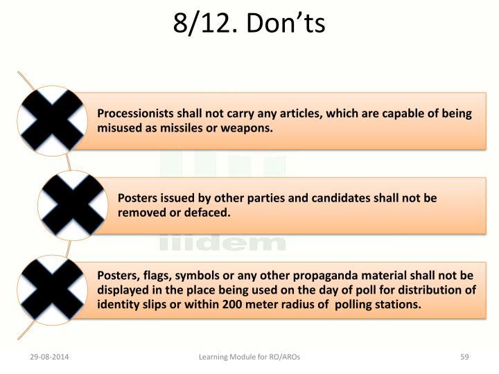 8/12. Don'ts