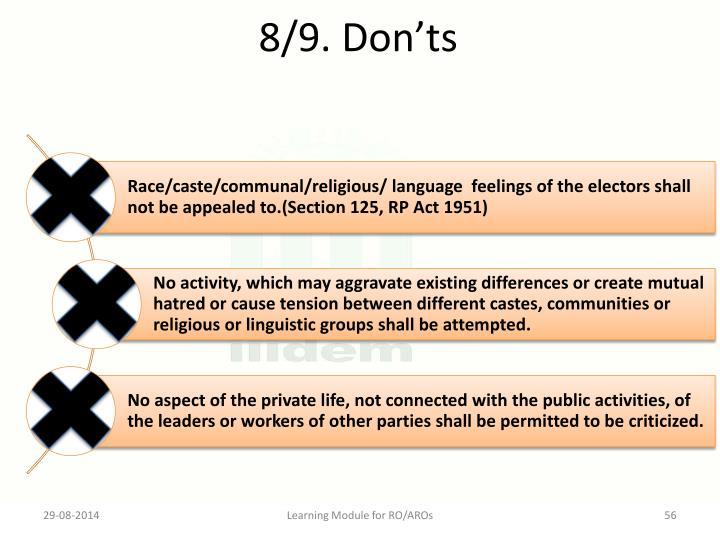 8/9. Don'ts