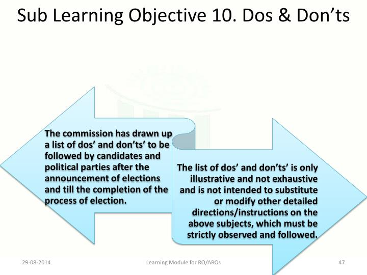 Sub Learning Objective 10. Dos & Don'ts