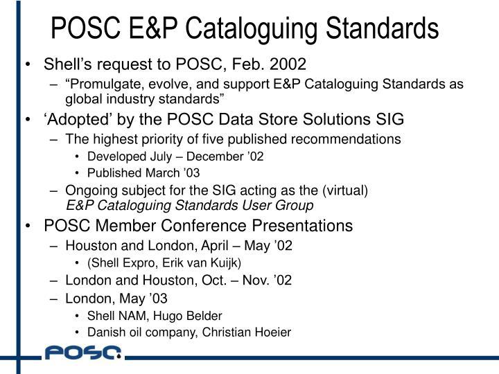 POSC E&P Cataloguing Standards