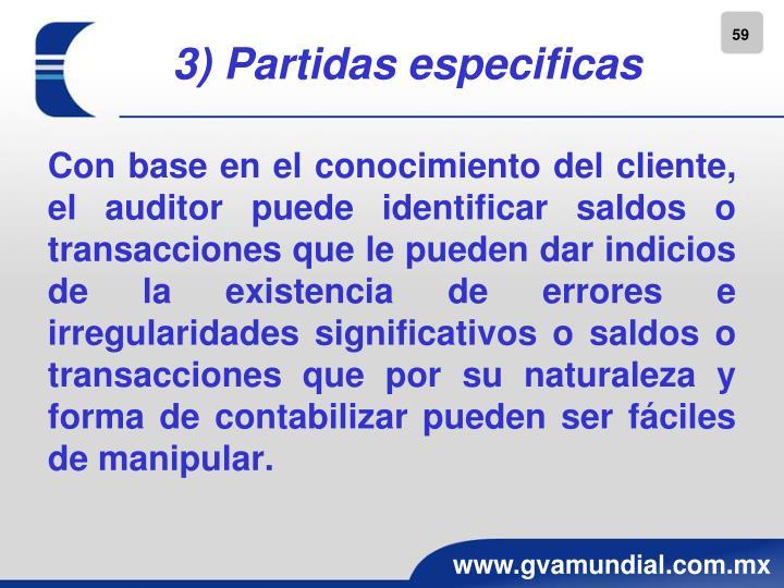 3) Partidas especificas