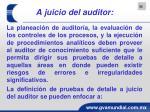 a juicio del auditor