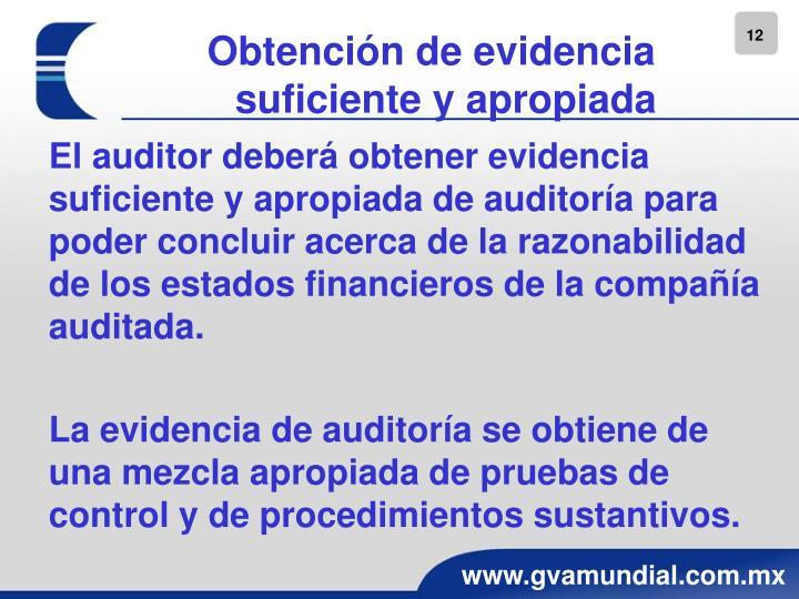 Obtención de evidencia suficiente y