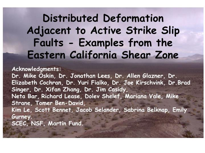 Distributed Deformation Adjacent to Active Strike Slip Faults - Examples from the Eastern California...