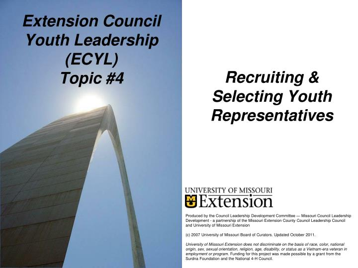 Extension council youth leadership ecyl topic 4