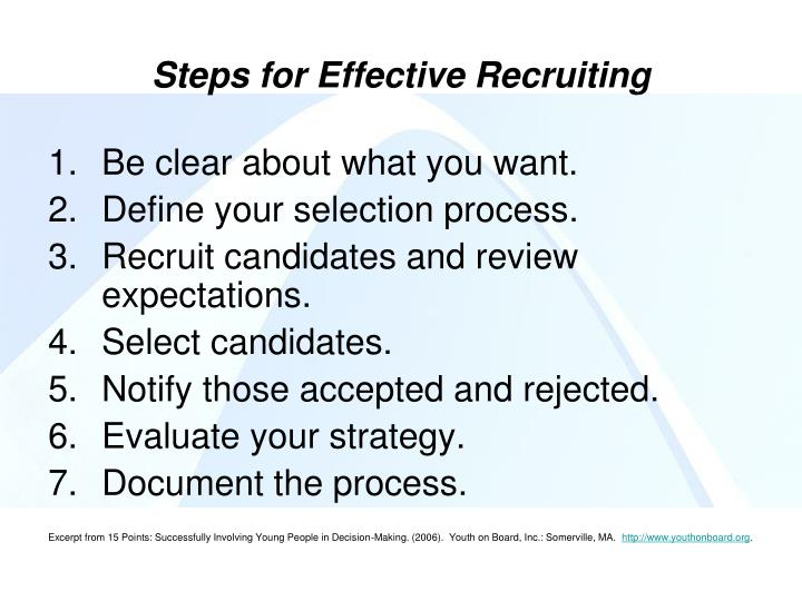 Steps for Effective Recruiting