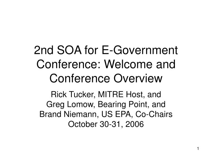 2nd soa for e government conference welcome and conference overview