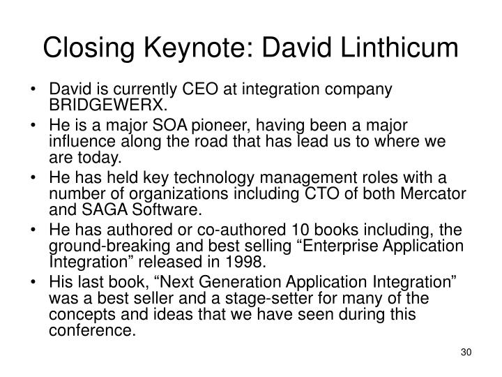 Closing Keynote: David Linthicum