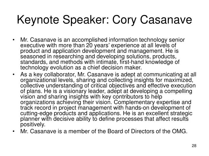 Keynote Speaker: Cory Casanave