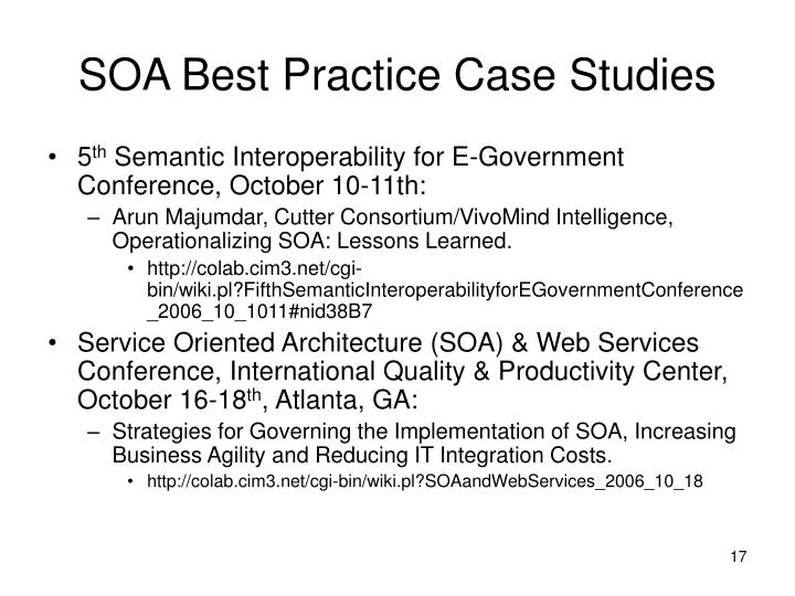 SOA Best Practice Case Studies