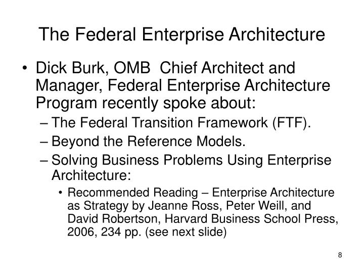 The Federal Enterprise Architecture