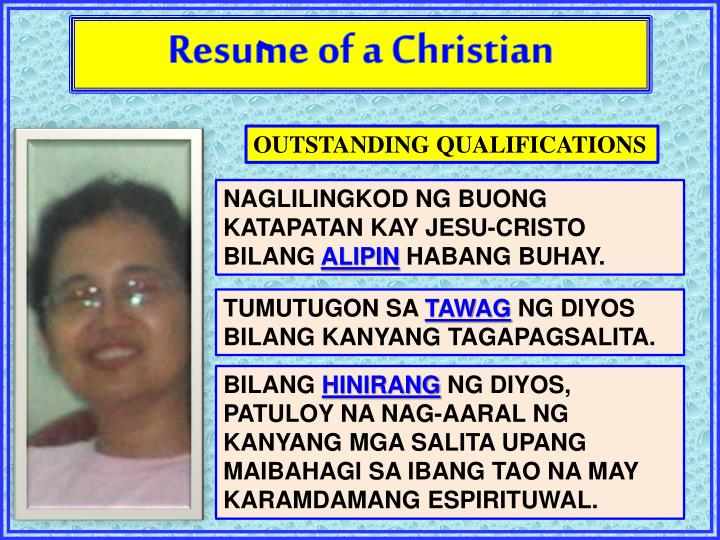 Resume of a Christian