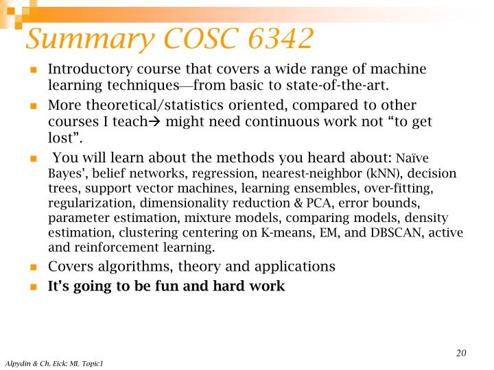 Summary COSC 6342