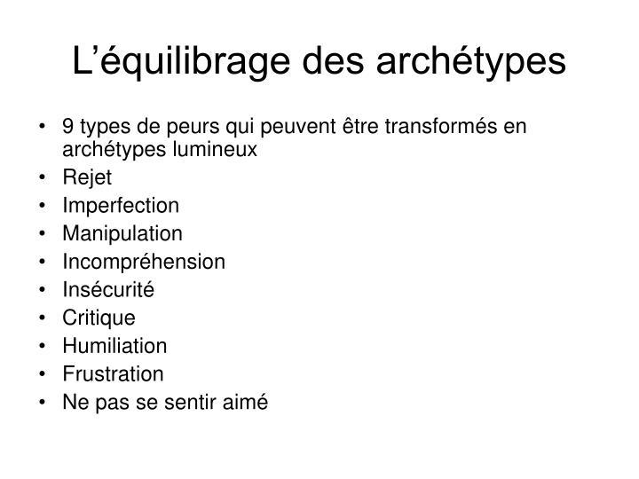 L'équilibrage des archétypes