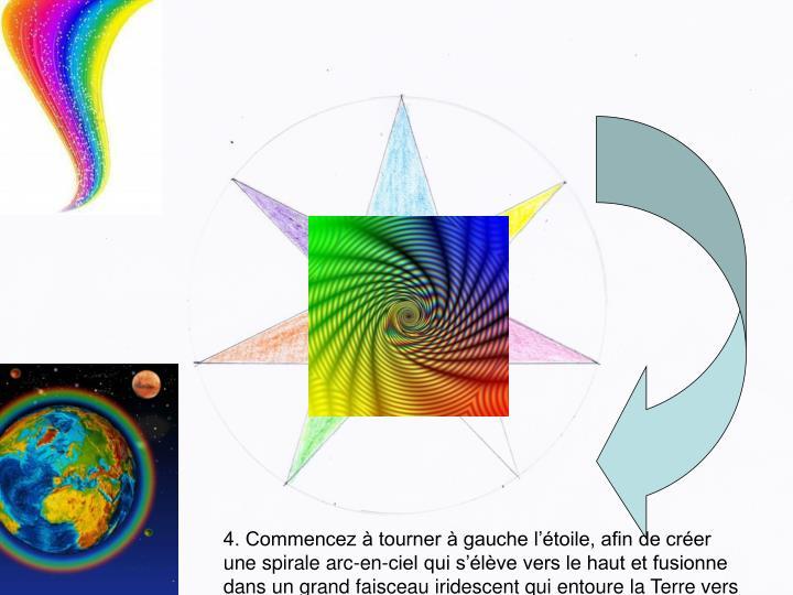 4. Commencez à tourner à gauche l'étoile, afin de créer une spirale arc-en-ciel qui s'élève vers le haut et fusionne dans un grand faisceau iridescent qui entoure la Terre vers la droite à la fin (5 min)