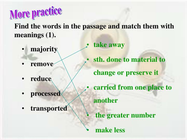 Find the words in the passage and match them with meanings (1).