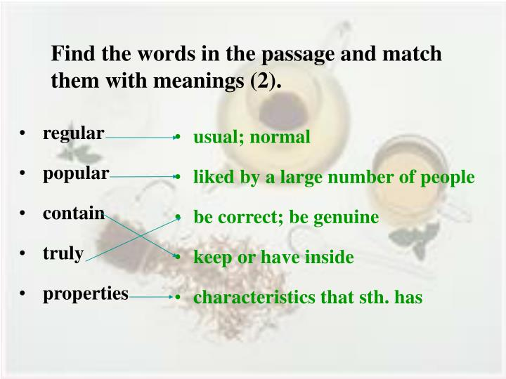 Find the words in the passage and match them with meanings (2).