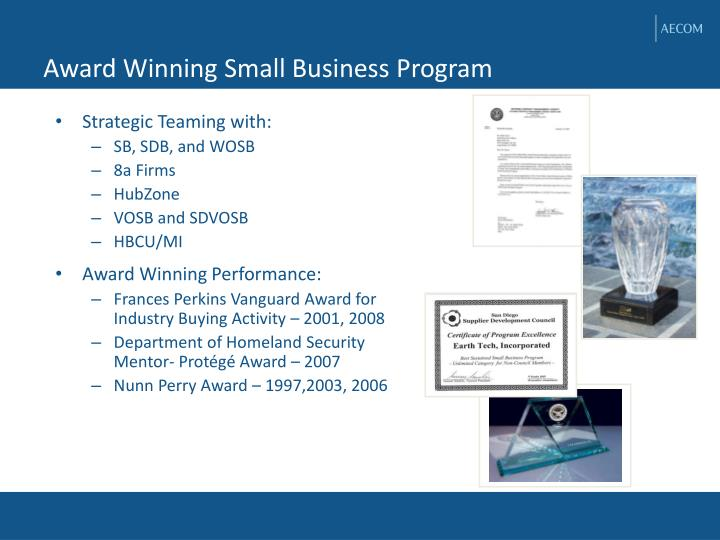 Award Winning Small Business Program