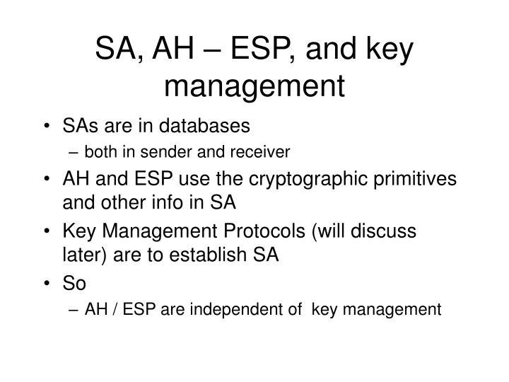 SA, AH – ESP, and key management