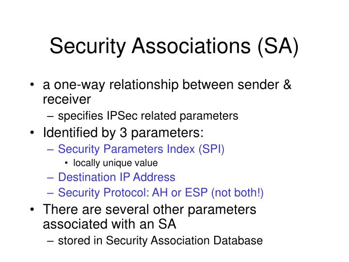Security Associations (SA)