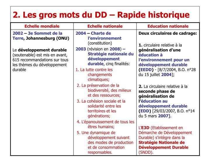 2. Les gros mots du DD – Rapide historique