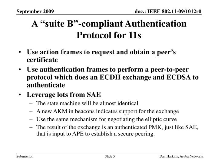 "A ""suite B""-compliant Authentication Protocol for 11s"