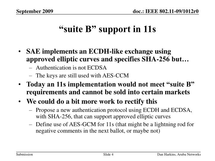"""suite B"" support in 11s"