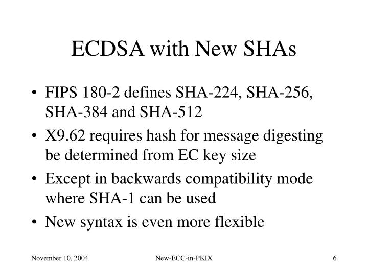 ECDSA with New SHAs