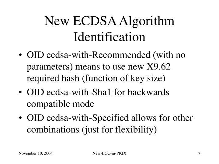 New ECDSA Algorithm Identification