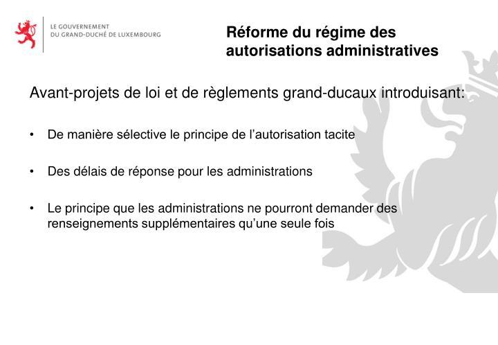 Avant-projets de loi et de règlements grand-ducaux introduisant: