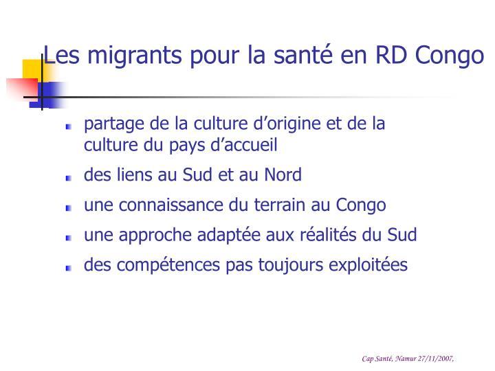 Les migrants pour la santé en RD Congo