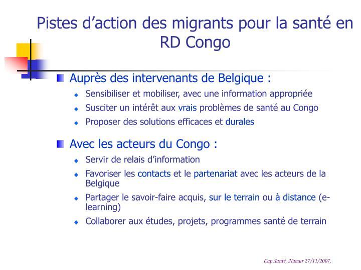 Pistes d'action des migrants pour la santé en RD Congo