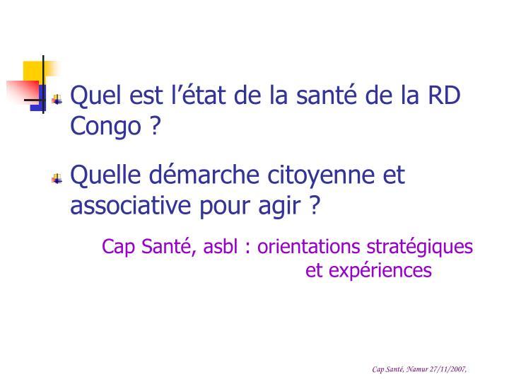 Quel est l'état de la santé de la RD Congo ?