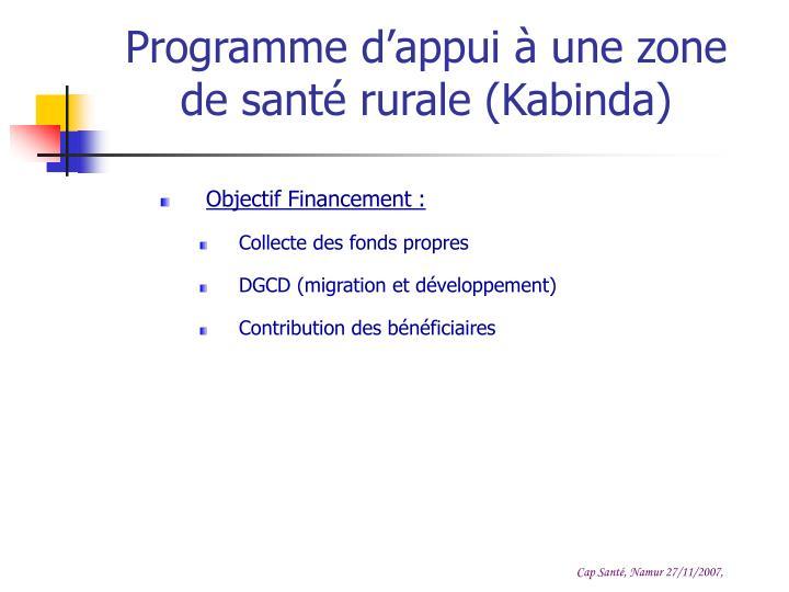 Programme d'appui à une zone de santé rurale (Kabinda)
