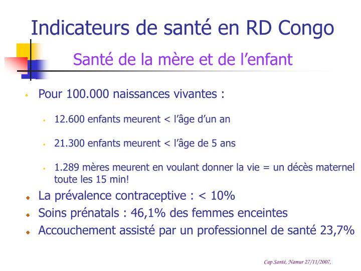 Indicateurs de santé en RD Congo