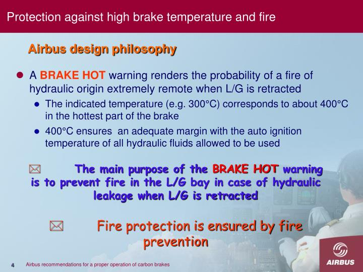 Protection against high brake temperature and fire