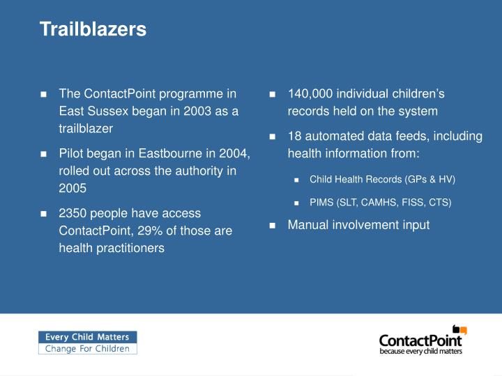 The ContactPoint programme in East Sussex began in 2003 as a trailblazer