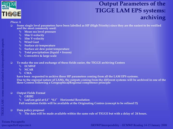 Output Parameters of the