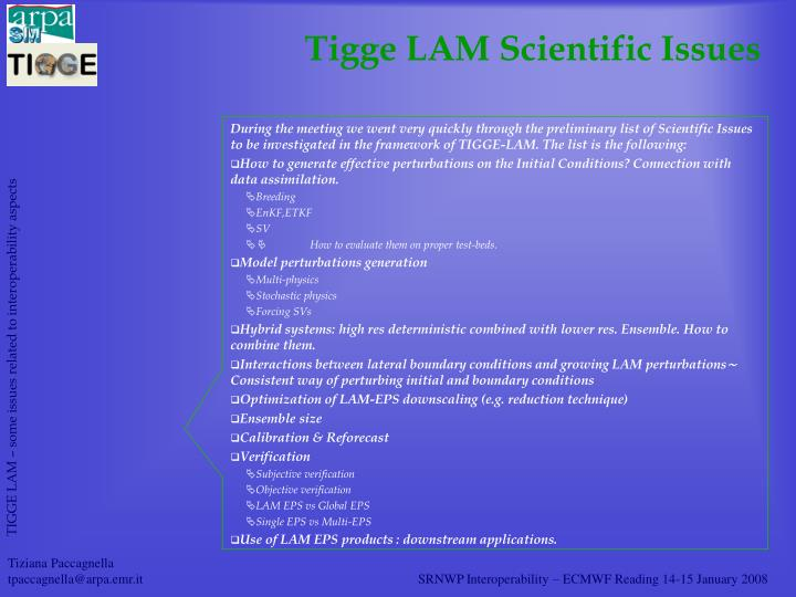 Tigge LAM Scientific Issues