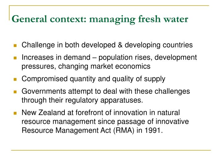 General context: managing fresh water