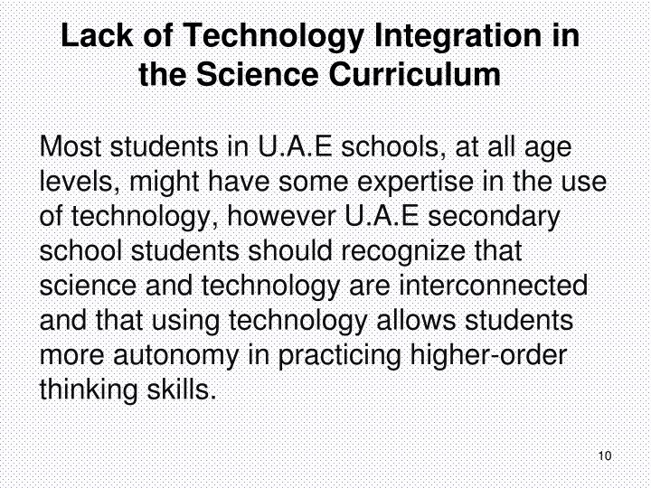 Lack of Technology Integration in the Science Curriculum
