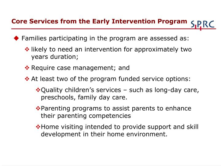 Core Services from the Early Intervention Program
