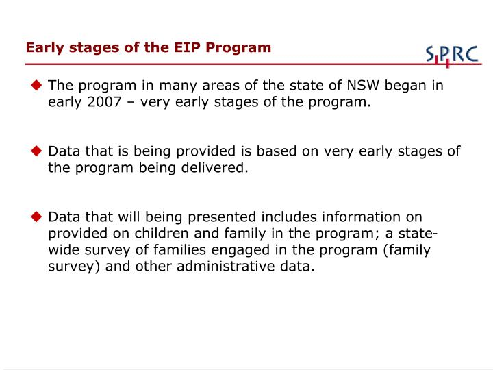 Early stages of the EIP Program