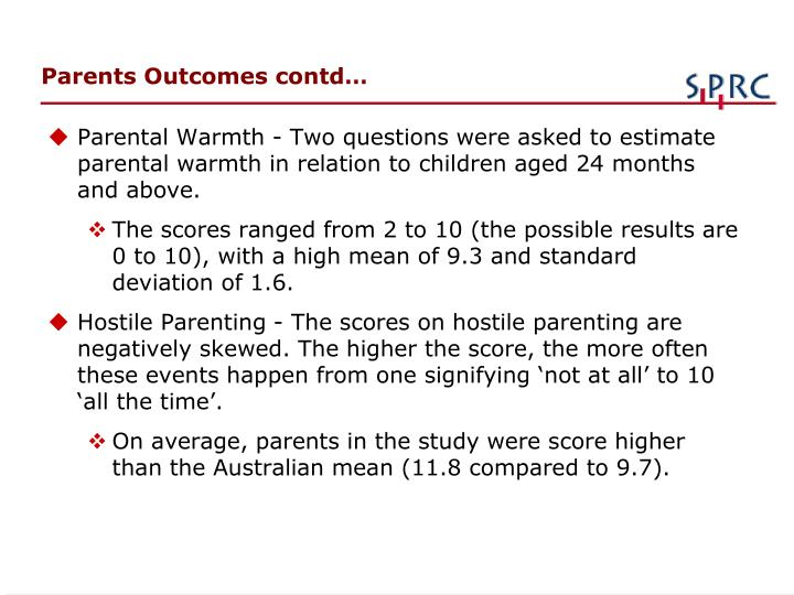 Parents Outcomes contd…