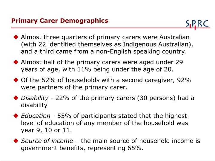 Primary Carer Demographics