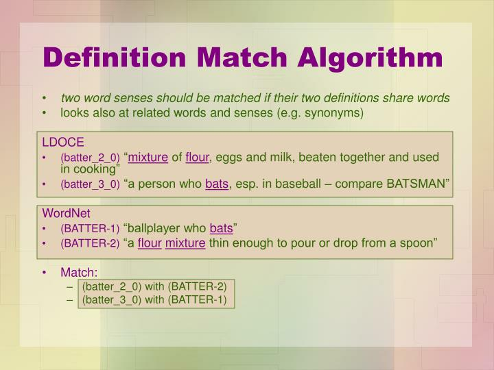 Definition Match Algorithm